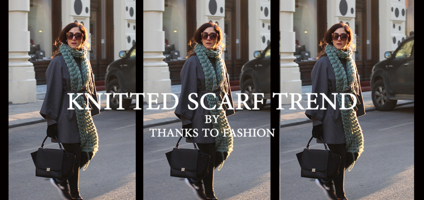 Oversized knitted scarf trend