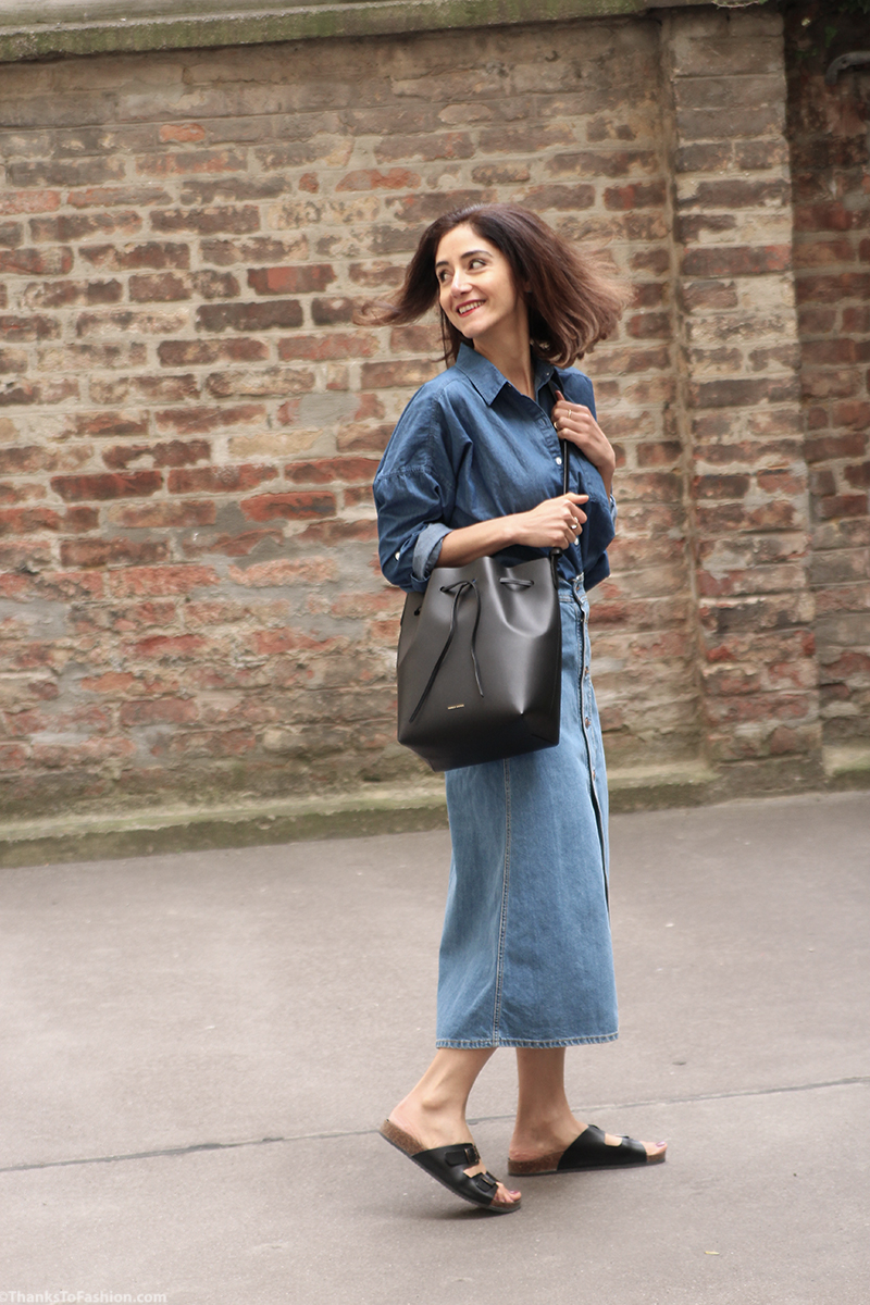 Denim On All In Outfit Mansur Gavriel Bucket Bag