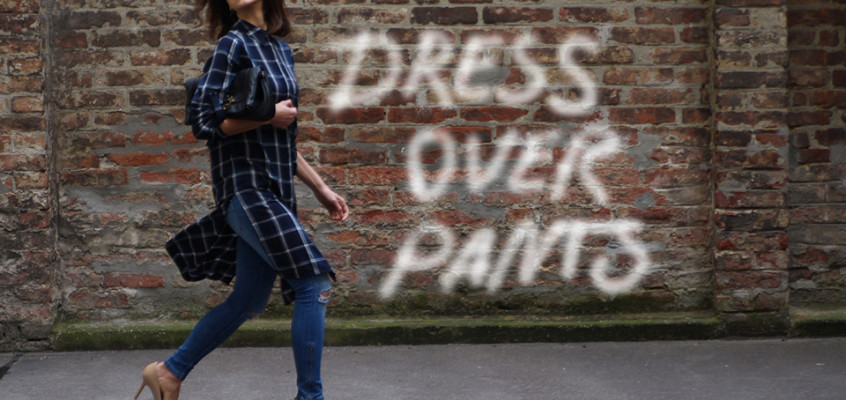 Dress over pants – shirt dress