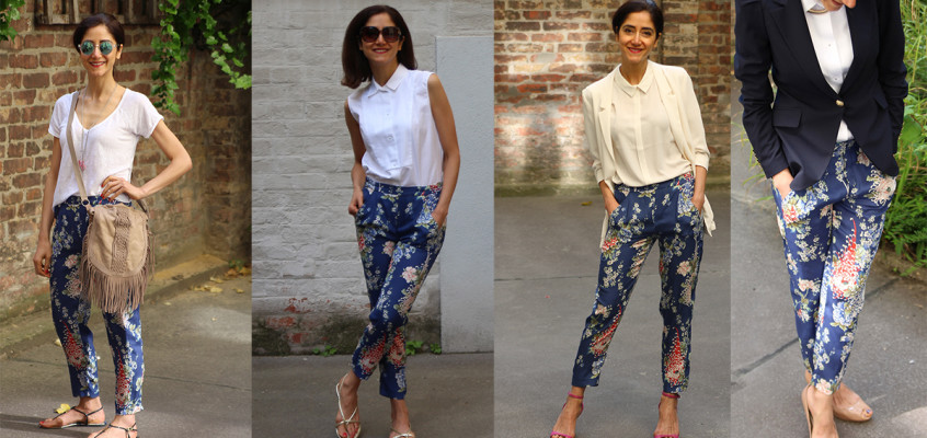 Floral print in 4 different looks