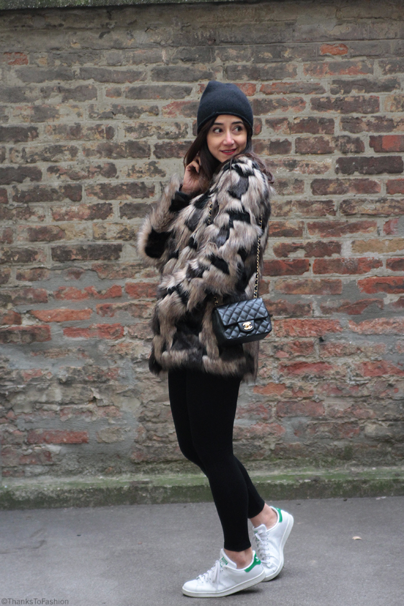 d40732253b8c3d I am wearing  Coat  Pepe Jeans London Beanie  H M Skinny trousers  Topshop  Shoes  Stan Smith Adidas Bag  Chanel (Mini flap)