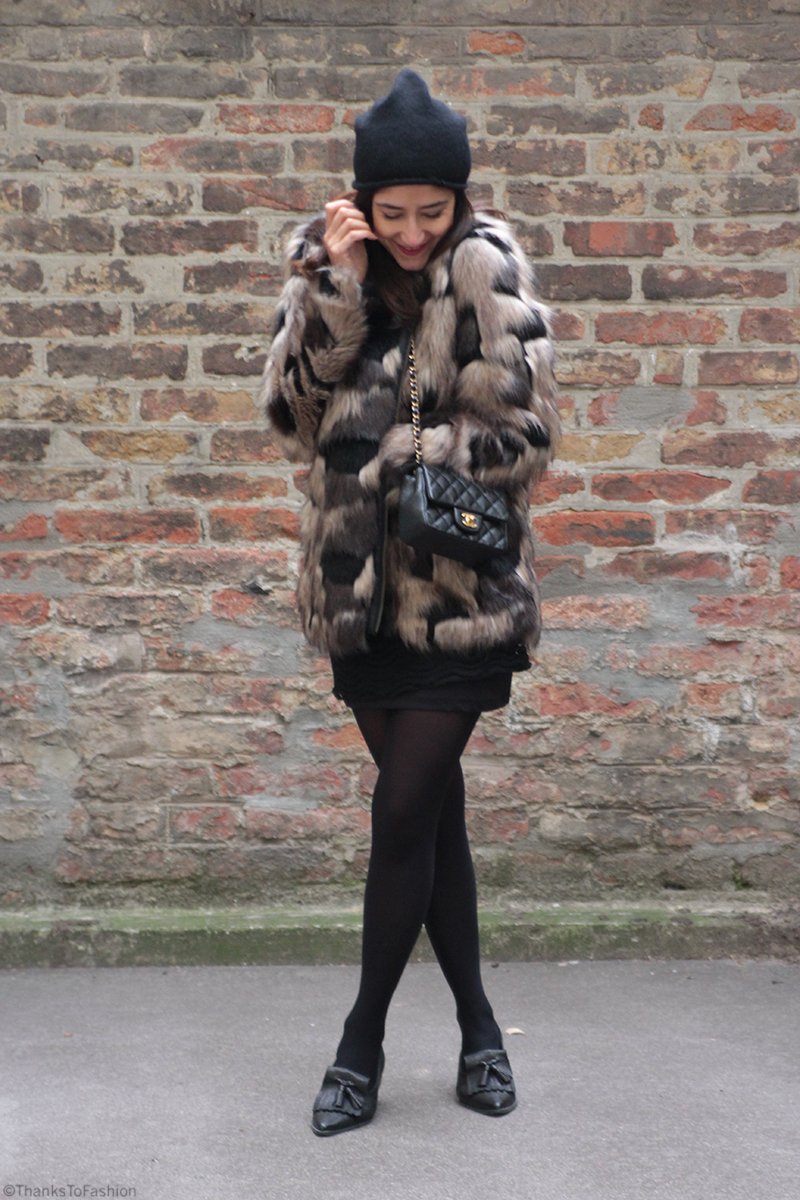 Patchwork faux fur