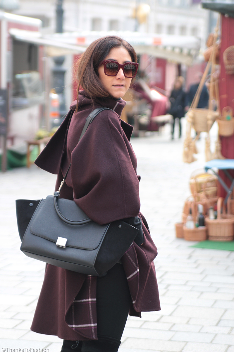 Poncho And Over The Knee Boots Street Style Thanks To